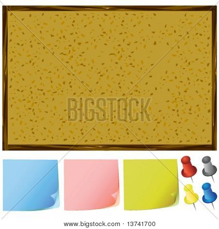 notice board and post-it notes, pins vector