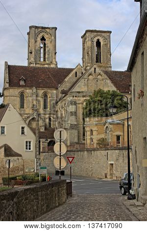 Medieval town and abbey in Laon, France