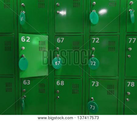 Key locked cell storage in a check office closeup stock photo