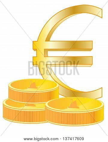 Sign euro from gild on white background is insulated, vector
