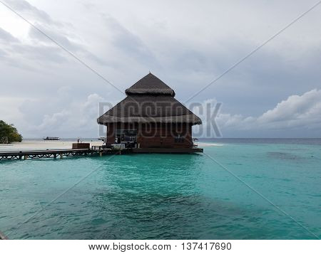 Maldives Resort Island raw image of beach and water Bungalow