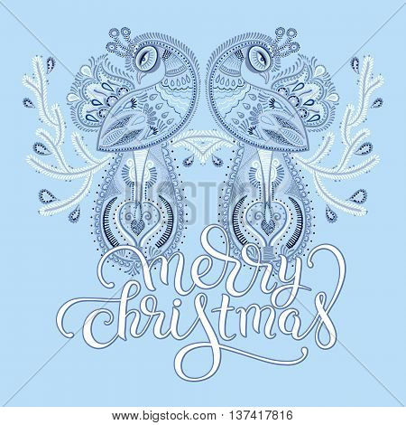 winter blue ethnic folk art of peacock bird with flowering branch design and lettering inscription merry christmas, vector dot painting illustration