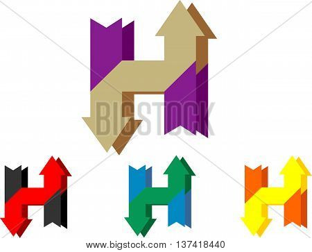 stock logo letter H with arrow up and down