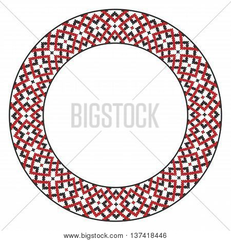 Traditional round embroidery. Vector illustration of modern folk embroidered pattern for your design