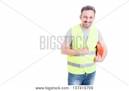 Cheerful Male Constructor Holding His Protection Helmet