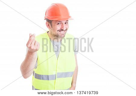 Cheerful Constructor Smiling And Doing Money Gesture