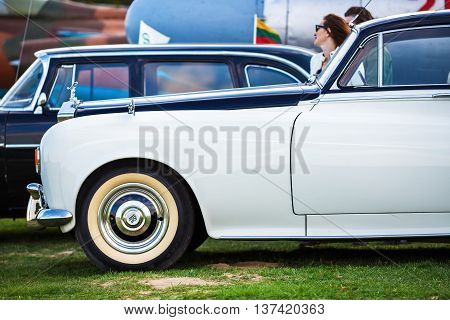 MINSK BELARUS - MAY 07 2016: Close-up photo of retro Rolls Royce. Classic vintage cars side view. Selective focus.