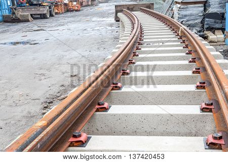 prepared tramway stacked four superimposed on the construction yard