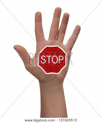 Hand raised with stop sign - isolated on white background