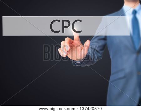 Cpc - Businessman Hand Touch  Button On Virtual  Screen Interface