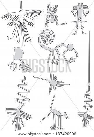illustration of nazca lines geoglyphs in the desert of Peru