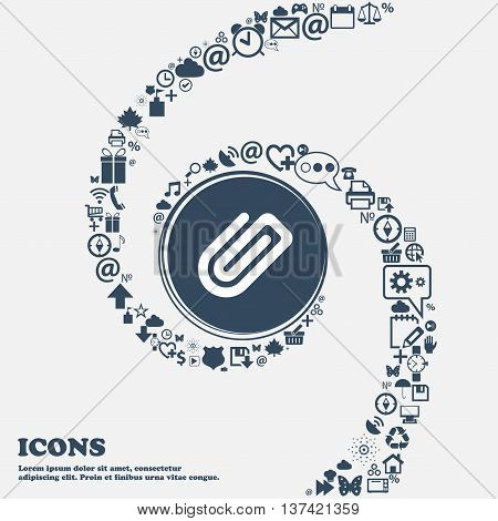 Paper Clip Icon Sign In The Center. Around The Many Beautiful Symbols Twisted In A Spiral. You Can U