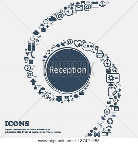 Reception Sign Icon. Hotel Registration Table Symbol In The Center. Around The Many Beautiful Symbol