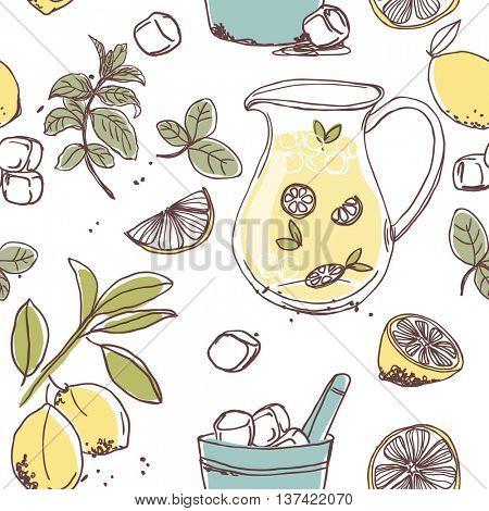 mint lemonade seamless pattern