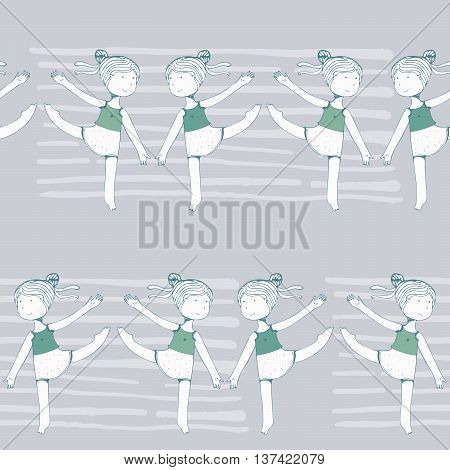 Seamless pattern with dancing young girls on grey stripe background fun kin. Kids in dynamic pose with raised hands and legs. Beautiful texture good for dance studio school ballet classes.