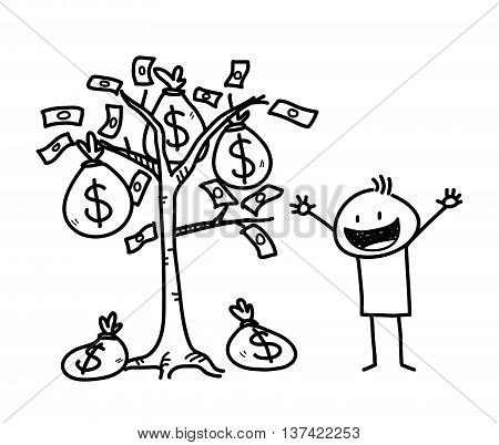 Money Tree Business Stick Figure Doodle, a hand drawn vector doodle illustration of a businessman and a money tree.