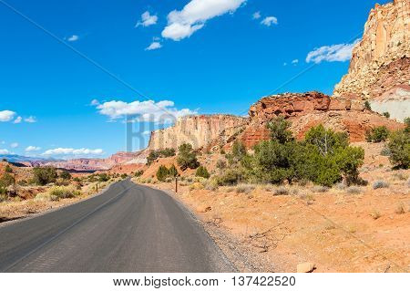 asphalt road through the Capitol Reef national park USA