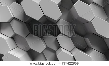 abstract background made of sixgons randomly extruded from surface 3d rendering