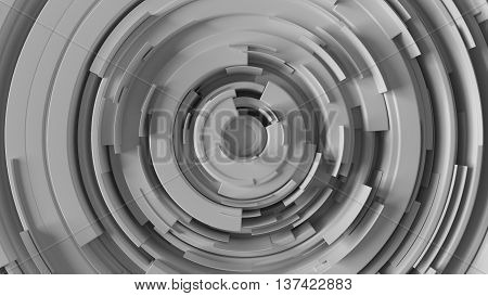 abstract background made of arcs randomly rotated with different height 3d rendering