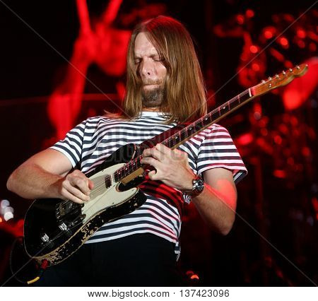 HOLLYWOOD, CA-OCT 24: James Valentine of Maroon 5 performs onstage during CBS RADIOs 3rd annual We Can Survive presented by Chrysler at the Hollywood Bowl on October 24, 2015 in Hollywood, California.
