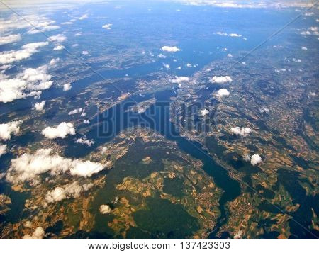 Lake Constance / Bodensee, Germany / Switzerland - Aerial View