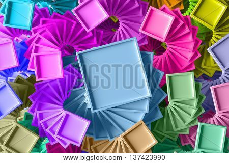 abstract 3d rendering background with repeating geometric figures that has a twirl rotation