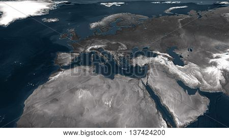 3d rendering of  europe geographical map with displaced surface