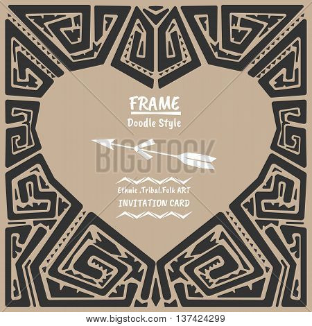 Doodle heart vector tribal ethnic style frame .Bohemian Invitation card.Heart banner.