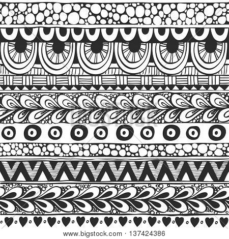 Seamless ornament from doodles in ethnic style black and white