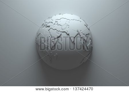 monochrome 3d rendering abstract background with earth globe continets are with countries randomly extruded