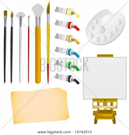set of art tool vector