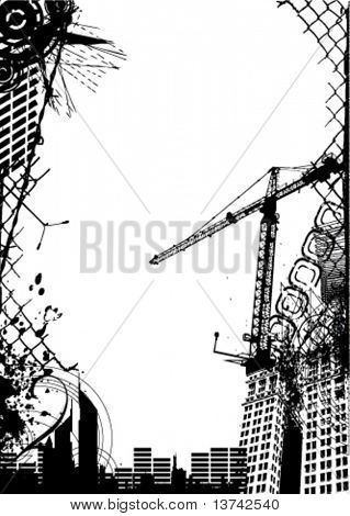 abstract grunge city vector