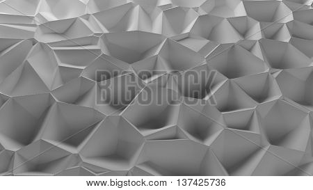3d rendering background randomly displacement surface voronoi pattern