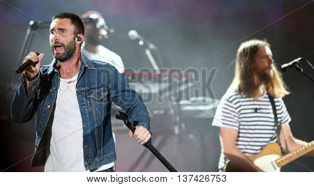 HOLLYWOOD, CA-OCT 24: Adam Levine (L) & James Valentine of Maroon 5 perform during CBS RADIOs 3rd annual We Can Survive at the Hollywood Bowl on October 24, 2015 in Hollywood, California.