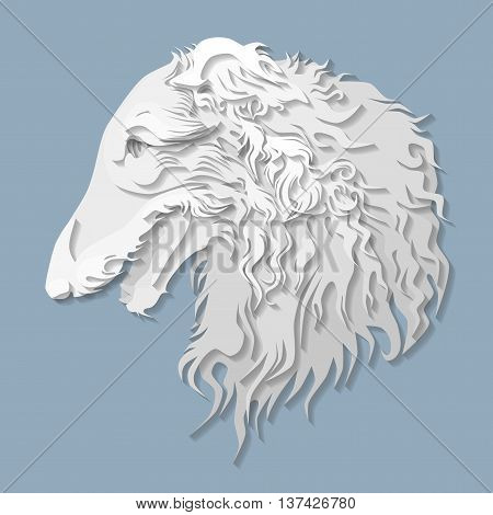 Side portrait of Russian borzoi in paper cut style head of greyhound dog on isolated blue background