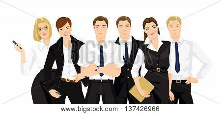 Vector illustration of teamwork. Man and woman in formal black clothes isolated on white background.