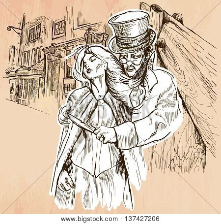 An hand drawn vector - JACK THE RIPPER and his victim. An killer with the knife threatening a young woman in old London city - line art. Vector is editable in groups and layers - freehand sketching.