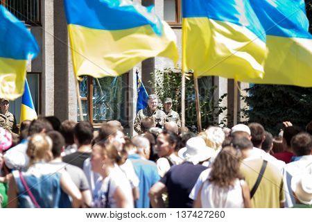 President Of Ukraine Petro Poroshenko Is Speaking At The Ceremonial Meeting