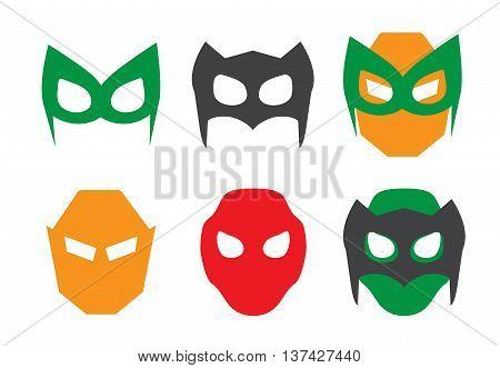 Super hero masks set. Superhero masks for face character in flat style