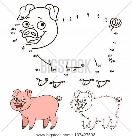 Cartoon pig.Connect the dots picture puzzle.Dot to dot educational game for kids.Vector illustration. Numbers game.