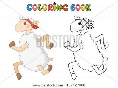 Cartoon sheep. coloring book. Vector illustration of cute animal. doodle sheep