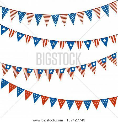 Independence day of America.Blank banner, bunting or swag templates for scrapbooking parties. Patriotic Symbolic Decoration for Holiday. 4th of July. National flag Usa