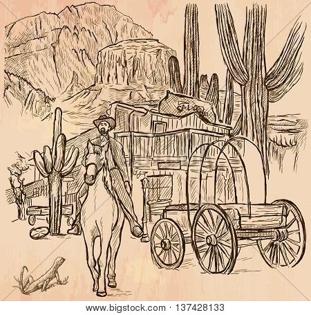 An hand drawn vector - SHERIFF. Wild West scene - An horse rider in front of Wooden Saloon American scenery landscape - line art. Vector is editable in groups and layers - freehand sketching.