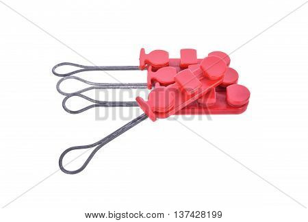 Clamp Drop wire through its use isolated white background