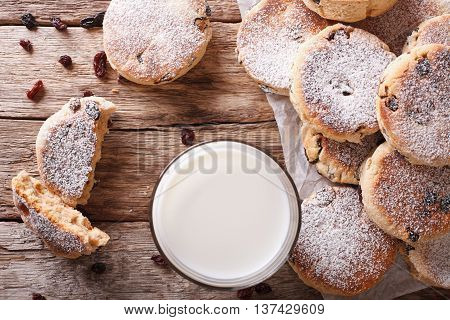 Homemade Welsh Cakes With Raisins And Milk Close-up. Horizontal Top View