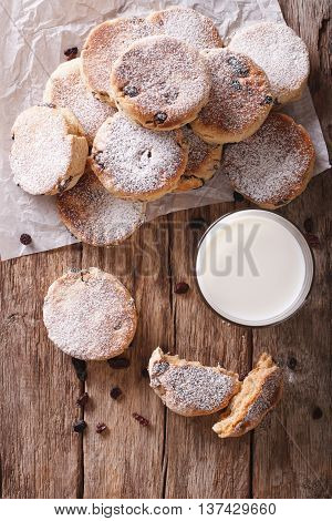 Welsh Cuisine: Cakes With Raisins And Powdered Sugar Close-up. Vertical Top View