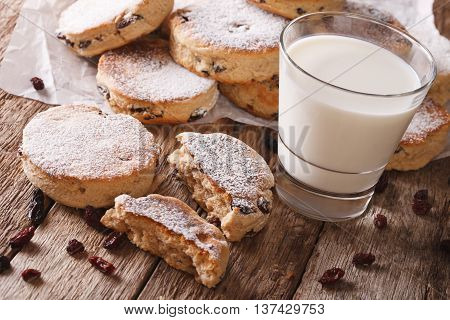 Homemade Welsh Cakes With Raisins And Milk Close-up. Horizontal