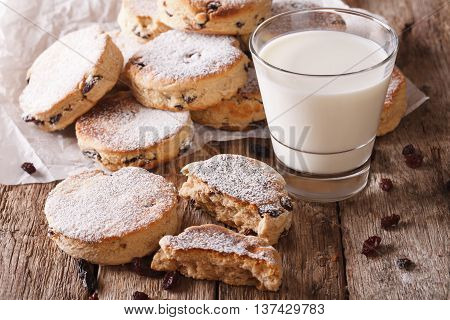 Tasty Welsh Cakes With Raisins And Milk Close-up. Horizontal