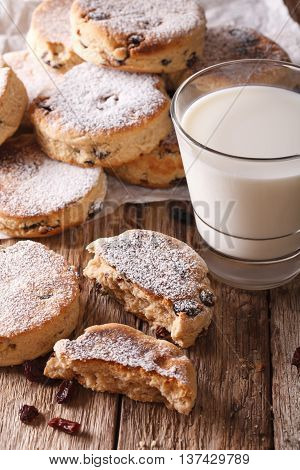 Homemade Welsh Cakes With Raisins And Milk Close-up. Vertical