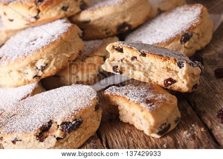 Traditional Welsh Cakes With Raisins And Powdered Sugar Macro. Horizontal